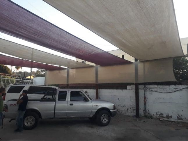 Malla sombra para patio en techo en Tijuana