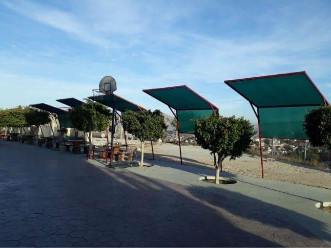 Malla sombra para patios escolares en Tiuana